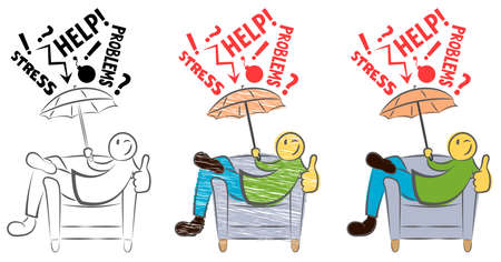 Funny guy sitting on a chair and showing thumbs up. Happy person is protected from fails. Anti-stress. Man solves The Problem. Self Confidence. Hand drawn cartoon doodle vector illustration. Icon. Stock Illustratie