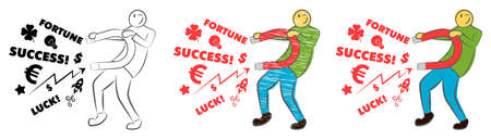 Businessman attracting luck with a large magnet. Idea and business concept. Successful business. Guy holds a magnet. Hand drawn cartoon doodle vector illustration. Man attracting money.
