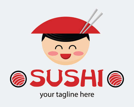 Funny cartoon asian man in cone hat. Japanese food advertisement concept. Japanese vector mascot. Sign for a sushi shop or restaurant. 向量圖像