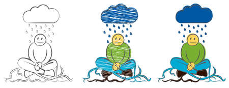 The businessman took root in the ground. Character weeping in the rain. Hand drawn cartoon doodle vector illustration. Gloomy depressed cartoon. Sad and depressed guy under storm. Melancholy Man.