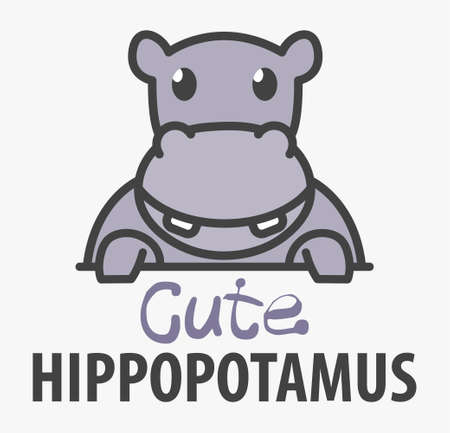 template with cute hippopotamus. Vector design template for zoo, veterinary clinics. Cartoon african animal illustration.