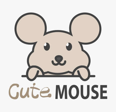 Logo template with cute mouse. Vector logo design mice template for zoo, veterinary clinics. Cartoon animal logo illustration.