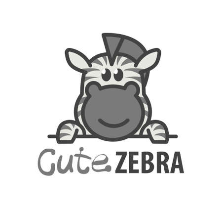 Logo template with cute zebra. Vector logo design African horse template for zoo, veterinary clinics. Cartoon animal logo illustration.