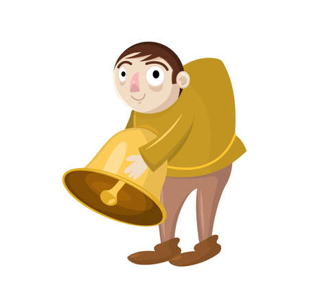 Happy cartoon vector hunchback holding a bell. Design for print, mascot, emblem, t-shirt, party decoration, sticker.