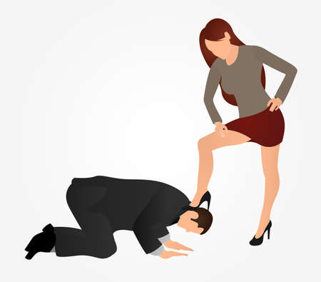 Female boss leg presses on a man. Businessman kneel down. The concept of manipulation and control over people. Slavery at work concept. Vetores