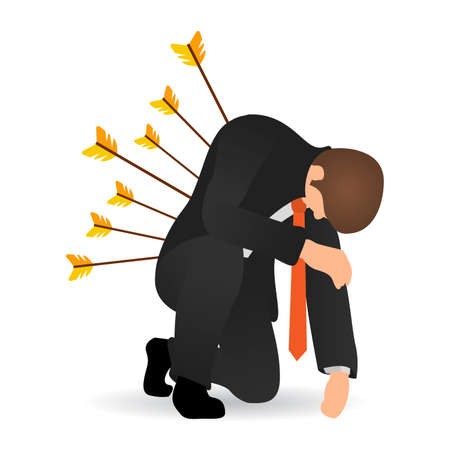 Business betrayal or backstab flat concept. Businessman hit by arrows and he sat on one knee. Business failure. Concept business problem, stress, fail, deadline or overworked person.