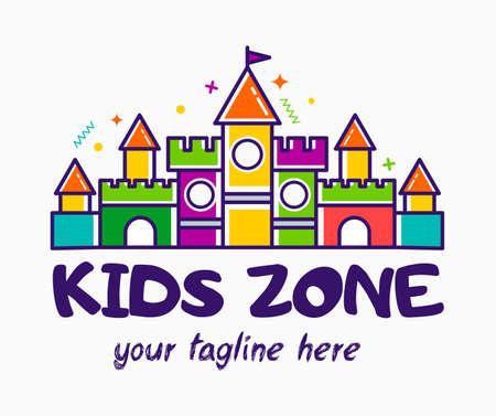 Bouncy castle cartoon logo. Kids zone concept. Children Playground sign.