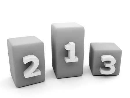Top 3 rankings. 3D numbers label isolated on white background.