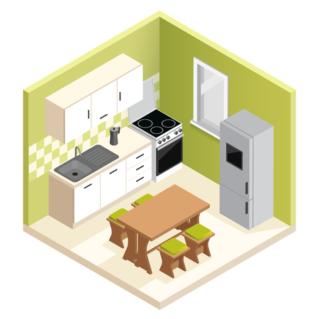 Isometric room interior design. Miniature apartment kitchen vector illustration