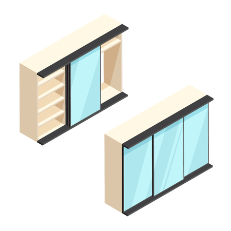 checkroom: Isometric built-in wardrobe with mirrors illustration. Closed and open closet. 3d vector furniture icons