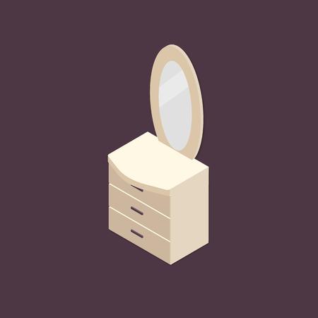 Isometrische commode met spiegelillustratie. Klassieke kaptafel vector pictogram