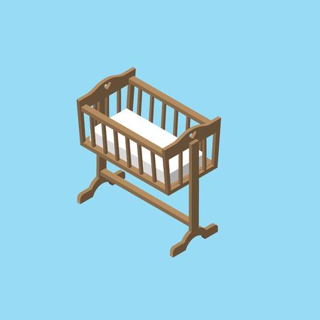 Isometric baby cradle. Newborn bed vector illustration.
