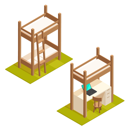Isometric bunk bed and loft bed illustration. Isolated vector wooden bedroom furniture icons.