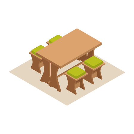 Isometric dining table with chairs vector illustration. Furniture icon