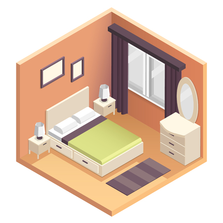 low perspective: Isometric bedroom interior design illustration. Miniature vector 3d apartment room Illustration