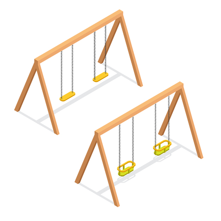 Isometric swings for kids and toddlers. Playground element 3d vector icon