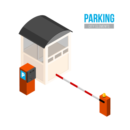 Isometric parking entrance. Vector city elements. Car gate, booth and payment station Illustration