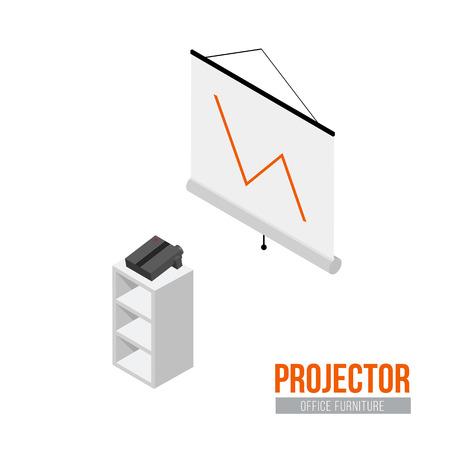 Isometrische projector met scherm. Vector kantoormeubilair en apparatuur