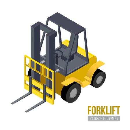 fork lifts trucks: Isometric forklift. Vector storage equipment. Warehouse machine. Illustration