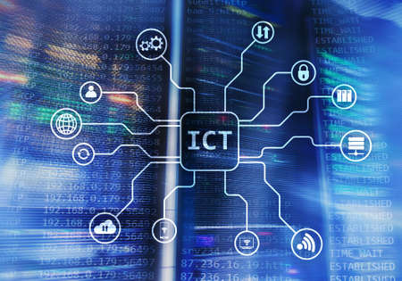 ICT - information and communications technology concept on server room background.� Stock Photo