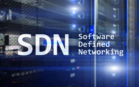 SDN, Software defined networking concept on modern server room background.  스톡 콘텐츠