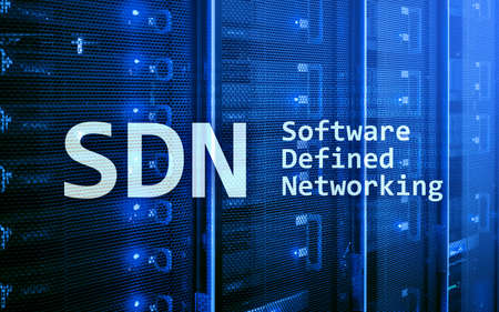 SDN, Software defined networking concept on modern server room background.  写真素材
