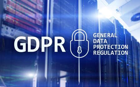 GDPR, General data protection regulation compliance. Server room background.