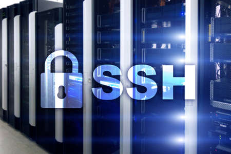SSH - Secure shell network internet connection. Server room on background.