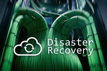 DIsaster recovery. Data loss prevention. Server room on background. 免版税图像 - 103398776
