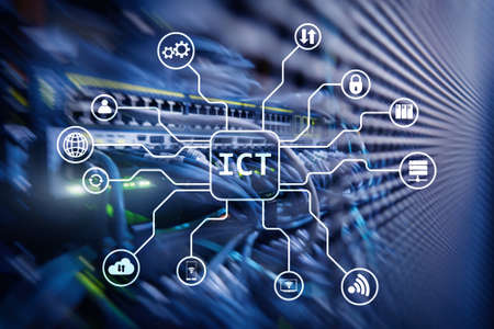 ICT - information and communications technology concept on server room background.