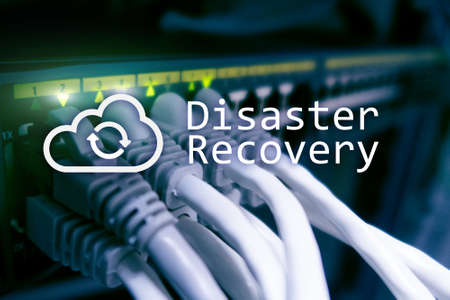 DIsaster recovery. Data loss prevention. Server room on background. Stockfoto