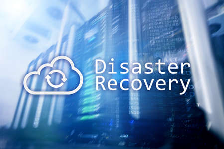 DIsaster recovery. Data loss prevention. Server room on background. 写真素材