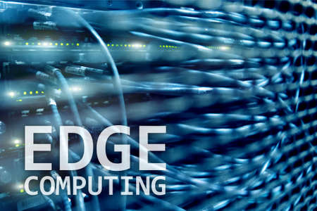 EDGE computing, internet and modern technology concept on modern server room background.