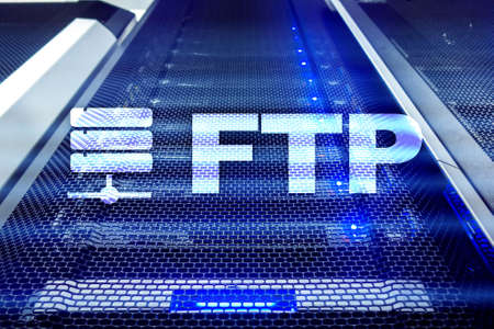 FTP - File transfer protocol. Internet and communication technology concept.