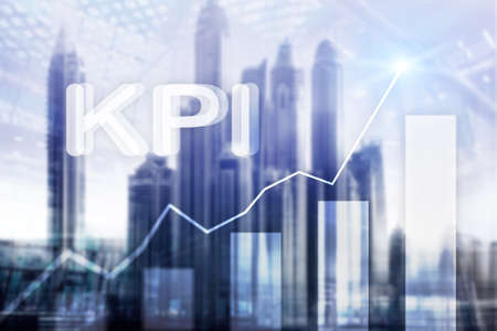 KPI - Key performance indicator graph on blurred background. 스톡 콘텐츠