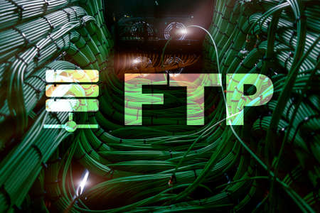 FTP - File transfer protocol. Internet and communication technology concept. Stock Photo