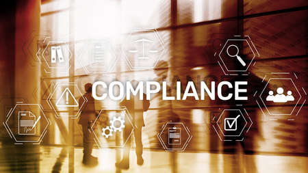 Compliance diagram with icons. Business concept on abstract background.