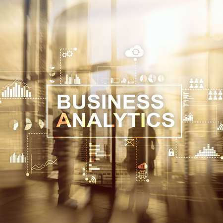 Business analytics concept on double exposure background. Stok Fotoğraf