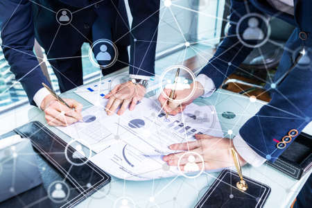 Double exposure people network structureþþ HR - Human resources management and recruitment concept.