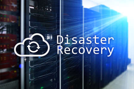 DIsaster recovery. Data loss prevention. Server room on background. 版權商用圖片
