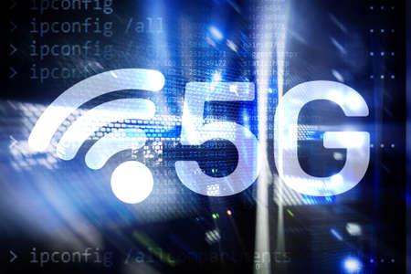 5G Fast Wireless internet connection Communication Mobile Technology concept. Stock fotó