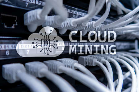 Cloud computing, data or cryptocurrency (Bitcoin, Ethereum) mining in data center. Server room background.