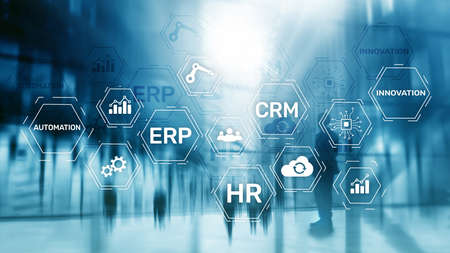 ERP, Business innovation concept on blurred background.