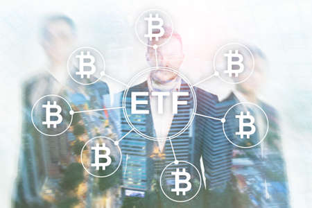 Bitcoin ETF cryptocurrency trading and investment concept on double exposure background. Фото со стока