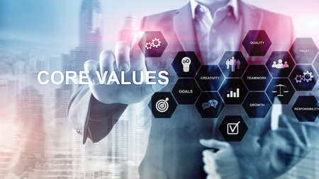 Core values concept on virtual screen. Business and finance solutions. Stock Photo