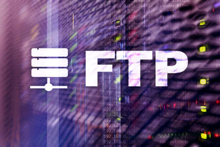 FTP - File transfer protocol. Internet and communication technology concept. Foto de archivo