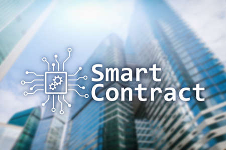 Smart contract, blockchain technology in business, finance hi-tech concept. Skyscrapers background. Stock Photo