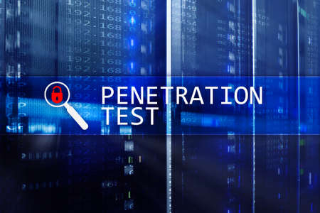 Penetration test. Cybersecurity and data protection. Hacker attack prevention. Futuristic  server room on background. Banque d'images - 112937080