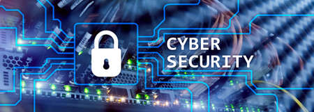 Cyber security, information privacy and data protection concept on server room background. Фото со стока