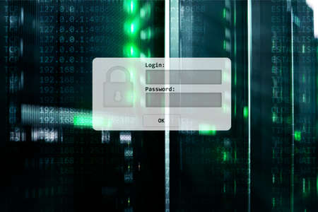 Server room, login and password request, data access and security. Stockfoto